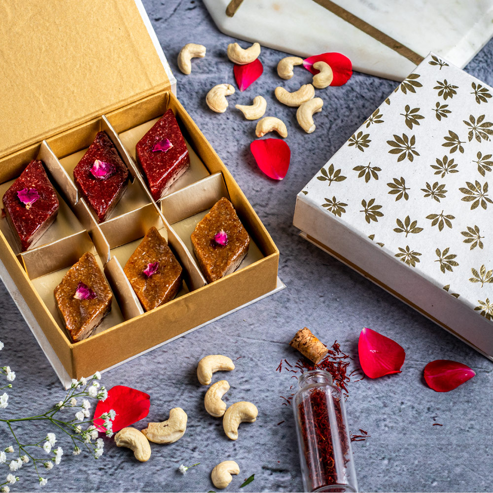 Rose & Saffron Kaju Katli (Box of 6)