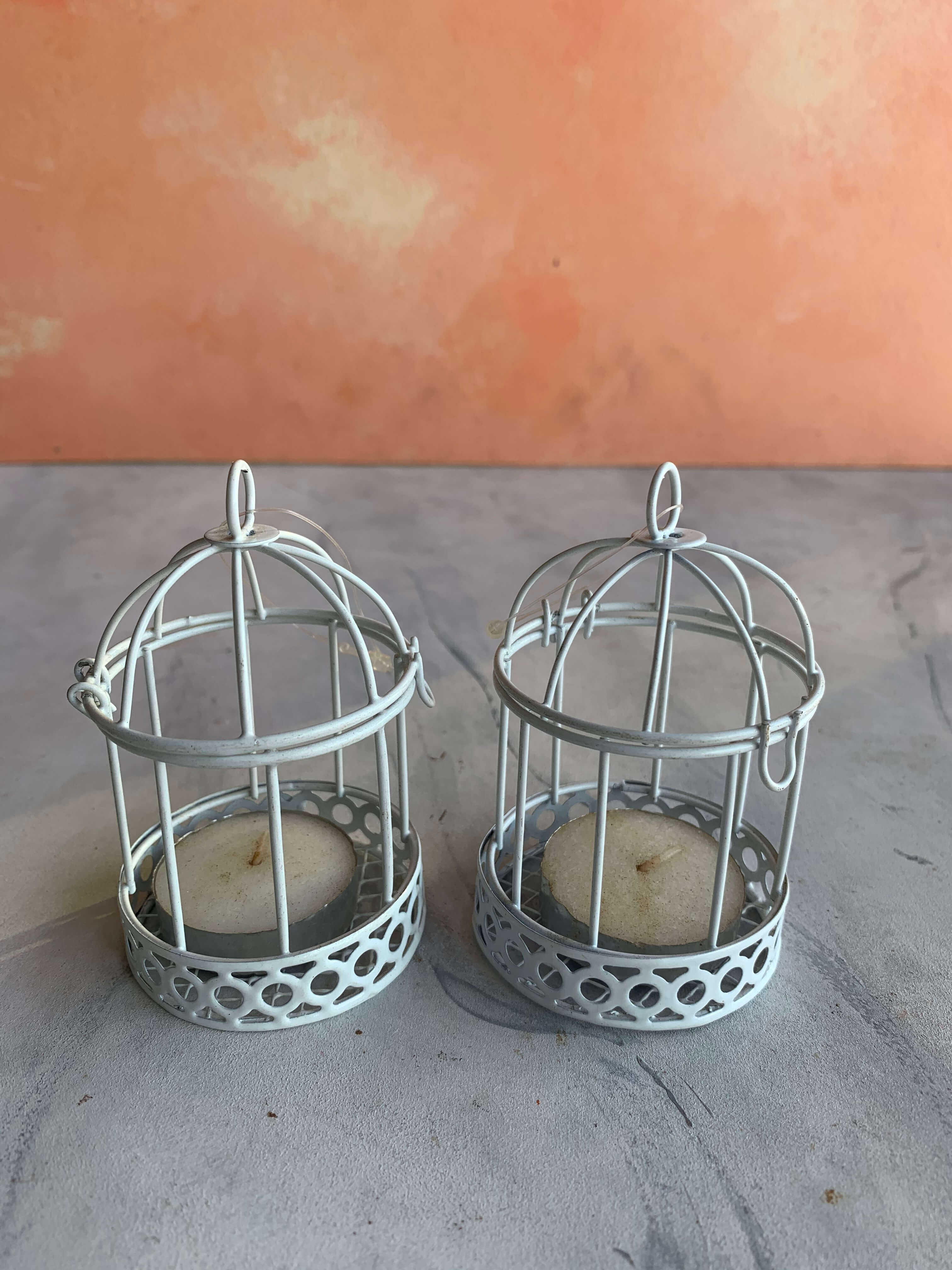 Pre-Loved Bird Cage Candle Holder (Set of 2)