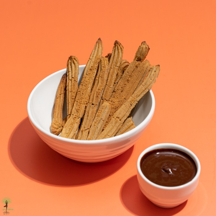 Baked Churros with a Cacao Dipping Sauce