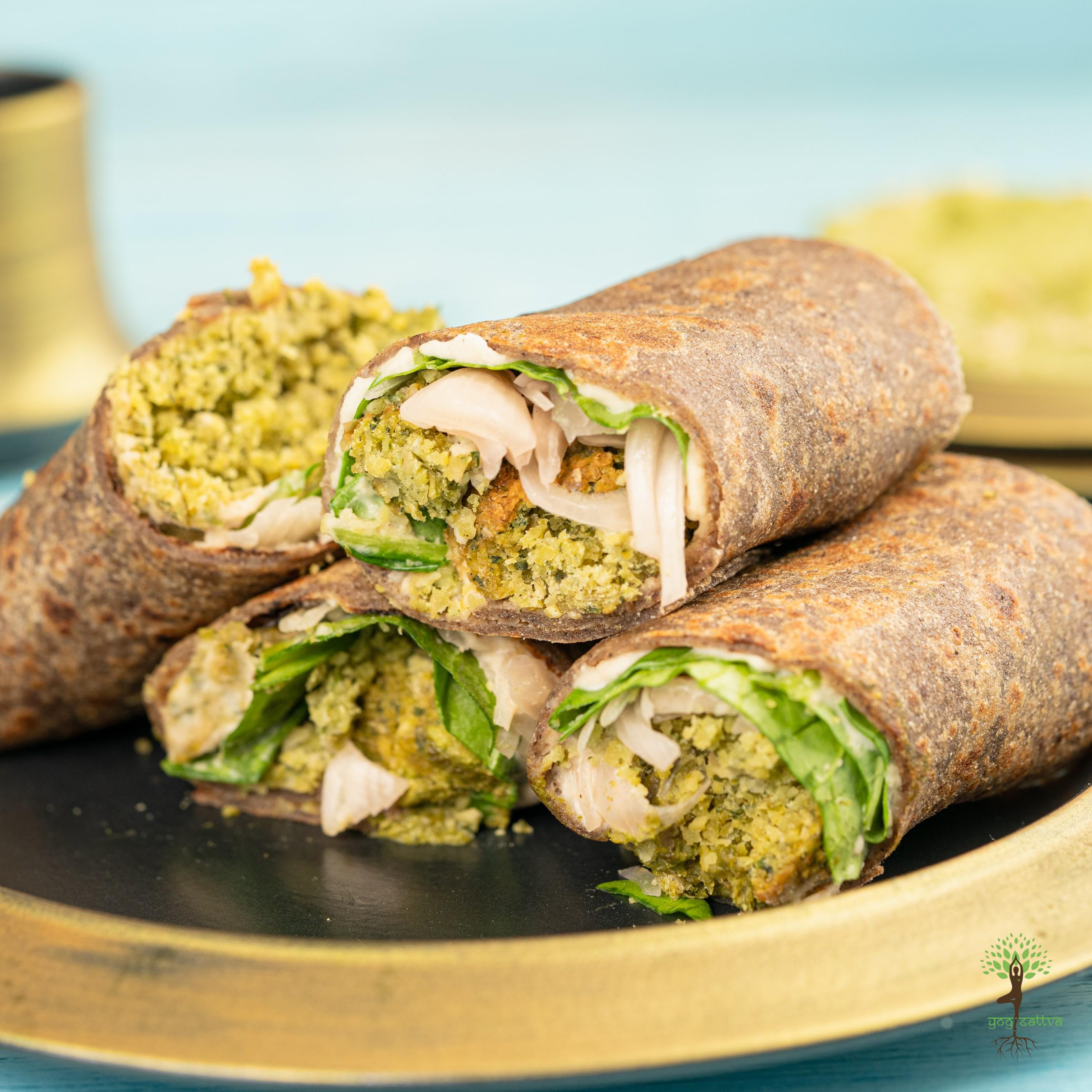 Falafel Wrap with Mint & Pea Tahini Dip