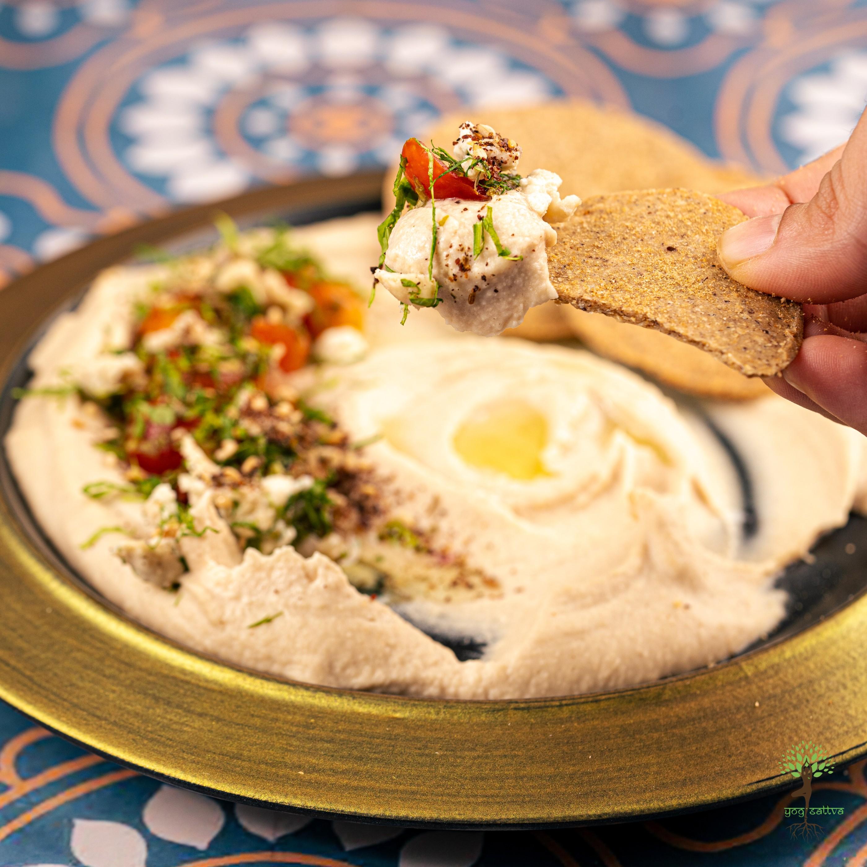 Hummus Beiruty with Gluten Free Zataar Spiced Crackers
