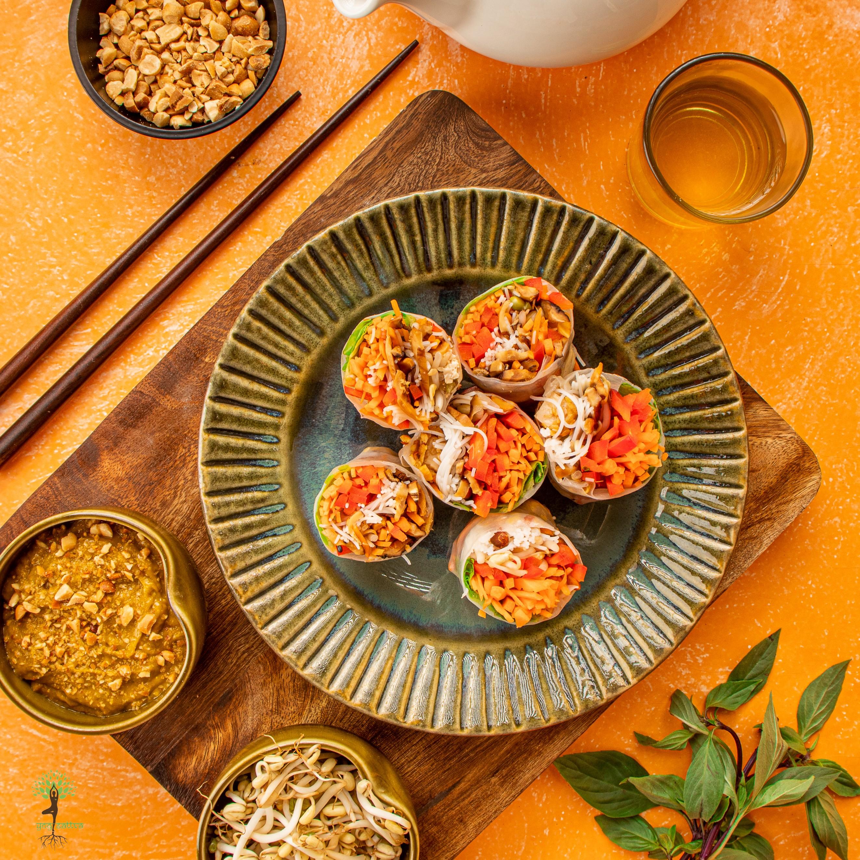 Vietnamese Spring Rolls with a Mango Basil Sauce