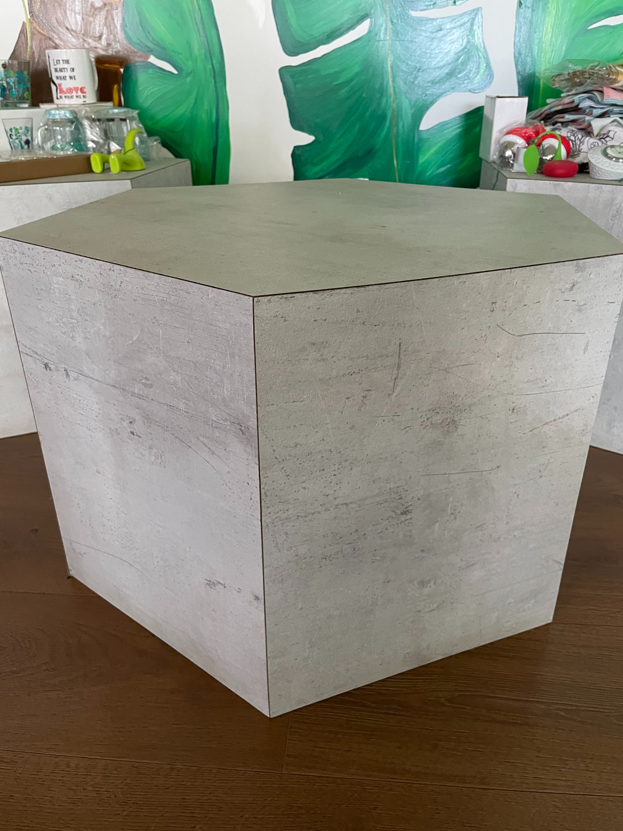 NEW Grey Hexagon Shaped Coffee Table