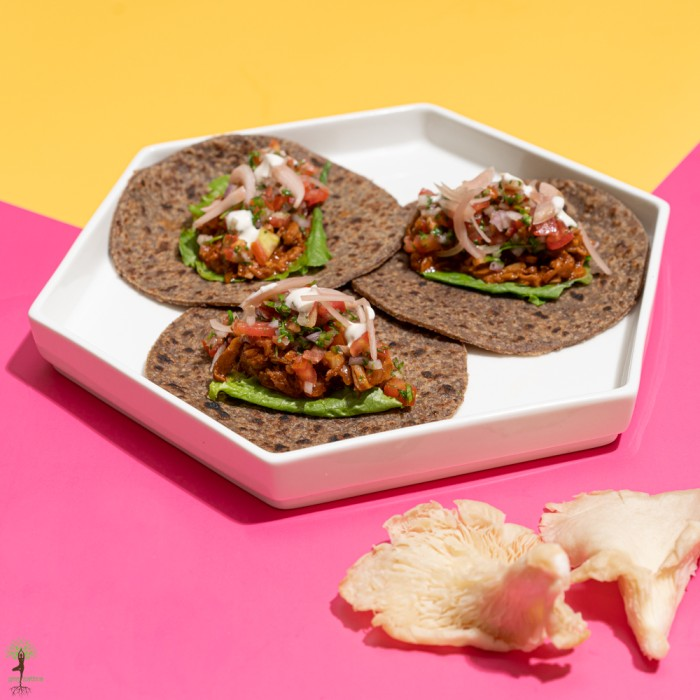 Pulled Mushroom Tacos with Tomato Salsa & Vegan Sour Cream